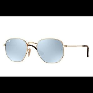 Ray Ban Hexagonal Flat Lenses Sunglasses Silver